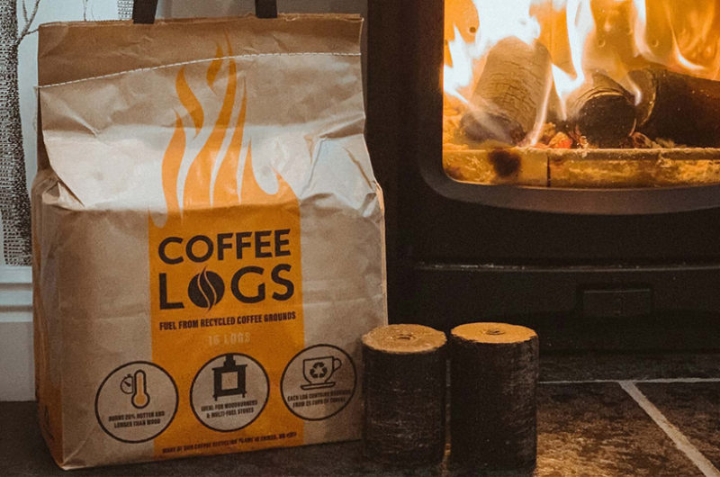 Coffee Logs bag next to wood burner