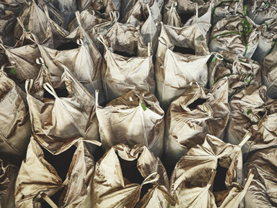 Pictures of sacks of coffee pellets